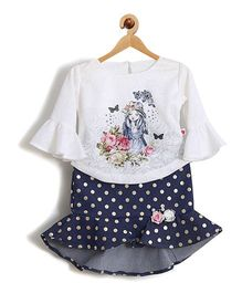 Rose Couture Baby Printed Skirt Top With Hairband - Navy