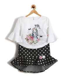 Rose Couture Baby Printed Skirt Top With Hairband - Black