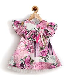 Rose Couture Floral Printed Flutter Baby Dress With Hairband - Mauve
