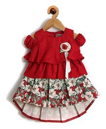 Rose Couture High Low Hem Flower Printed Baby Skirt Top With Hairband - Maroon