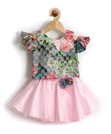 Rose Couture Fit & Flare Dual Tone Baby Skirt Top With Hairband - Pink