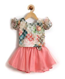 Rose Couture Semi Floral Printed Baby Skirt Top With Hairband - Peach