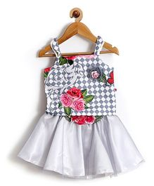 Rose Couture Flower Printed Strap Baby Skirt Top With Hairband - Grey