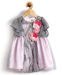 Rose Couture Roses Applique Baby Dress With Hairband - Grey