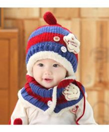 Flaunt Chic Star Applique With Scarf Winter Woolen Set - Navy Blue & Red