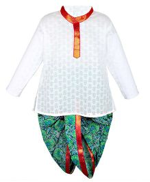 BownBee Little Kiddo Sanganeri Dhoti Kurta - White & Green