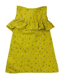 Tiny Toddler Printed Boat Neck Dress With Ruffles - Yellow