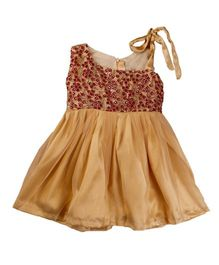 Tiny Toddler Embroidery Dress - Brown