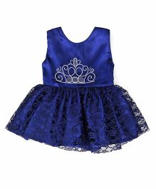 Tiny Toddler Crown Print Dress - Royal Blue