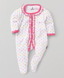 Child World Full Sleeves Footed Dotted Sleepsuit - White Pink