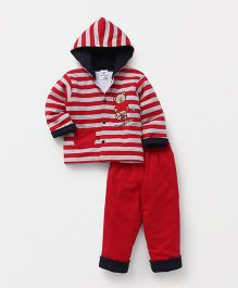 Child World Hooded Tee And Lounge Pant Teddy Patch - Red