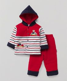 Child World Winter Wear Hooded Stripe T-Shirt And Bottoms - Red White