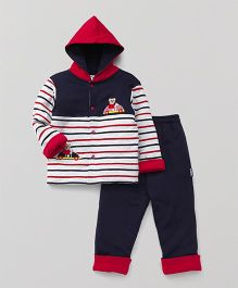 Child World Winter Wear Hooded Stripe T-Shirt And Bottoms - Navy Blue White