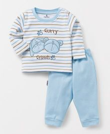 Child World Winter Wear T-Shirt And Lounge Pants Animal Embroidery - White Sky Blue