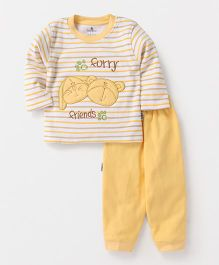 Child World Full Sleeves Winter Wear Set Furry Friends Embroidery - Yellow