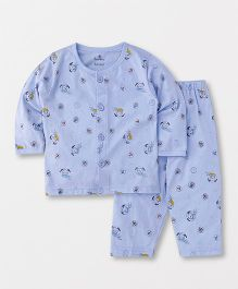 Child World Full Sleeves Night Suit Multiprint - Sky Blue