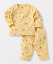 Child World Full Sleeves Night Suit Allover Print - Yellow