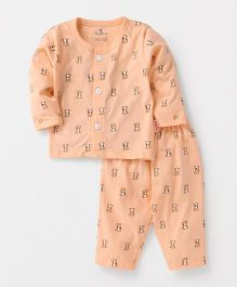 Child World Full Sleeves Night Suit Teddy Print - Peach