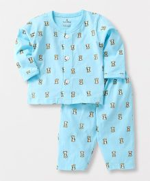 Child World Full Sleeves Night Suit Teddy Print - Turquoise Blue