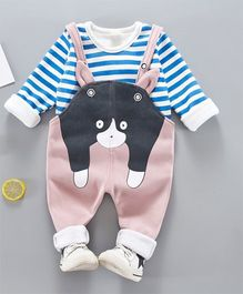 Pre Order - Awabox Animal Design Dungaree With Striped Tee - Blue & Pink