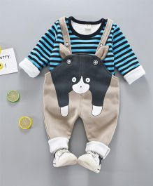 Pre Order - Awabox Animal Design Dungaree With Striped Tee - Blue & Black