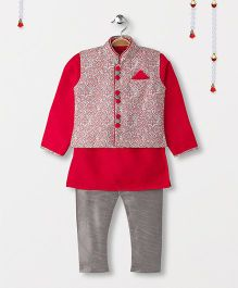 Ethnik's Neu Ron Kurta Jacket And Pajama Set - Fuchsia Pink & Grey