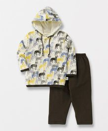 Cucumber Full Sleeves Hooded Sweatshirt And Lounge Pants Puppy Print - White Olive Green