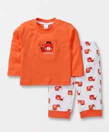 ToffyHouse Full Sleeves T-Shirt And Lounge Pant Tiger Patch - Orange White