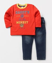 ToffyHouse Full Sleeves T-Shirts And Adjustable Elastic Jeans Set - Orange Blue