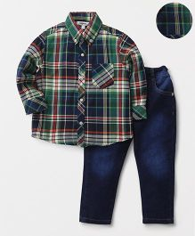 ToffyHouse Full Sleeves Checks Shirt & Adjustable Elastic Waist Jeans - Green & Blue