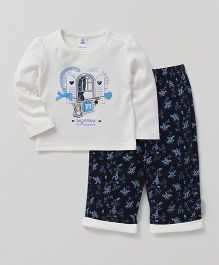 ToffyHouse Full Sleeves T-Shirt & Lounge Pant Floral Print - Off White & Navy
