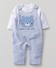 ToffyHouse Full Sleeves Striped Dungaree With Inner Tee - White Sky Blue