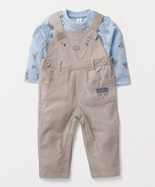 ToffyHouse Corduroy Dungaree With Teddy Print T-Shirt - Beige & Blue