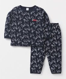 ToffyHouse Full Sleeves Night Suit Scooter Print - Navy