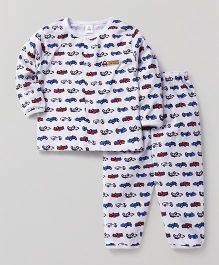 ToffyHouse Full Sleeves Night Suit Car Print - White & Blue