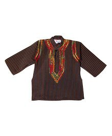 M'andy Stripe Design Boys Kurta - Black