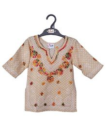 M'andy Striking Design Short Kurta - Fawn