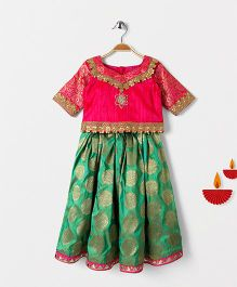 Mom's Girl Brocade Lehenga & Choli Set - Green