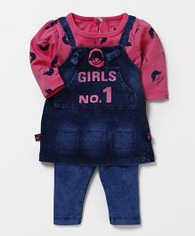 Wow Girl Denim Frock With Inner Tee & Pant - Blue & Pink