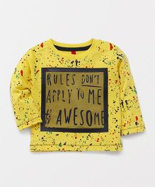 Spark Full Sleeves T-Shirt Text Print - Yellow