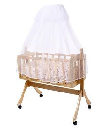 Wooden Cradle With Wheels & Mosquito Net - Cream