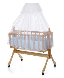 Wooden Cradle With Wheels & Mosquito Net - Blue