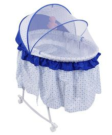 Baby Cradle Cum Rocker With Mosquito Net Dots Print - Blue