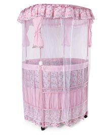 Baby Cot With Mosquito Net - Pink