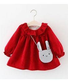 Lil Mantra Frill Collar Dress - Red