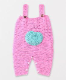 Rich Handknits Sleeveless Knitted Romper Dungaree - Pink
