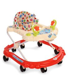 Sunbaby Butterfly Baby Walker With 8 Wheels - Red Off White