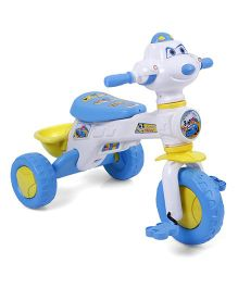 Musical Tricycle With Rear Basket - Blue & White