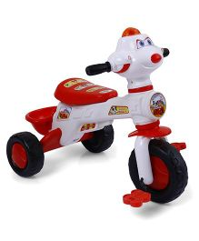 Musical Tricycle With Rear Basket - Red & White