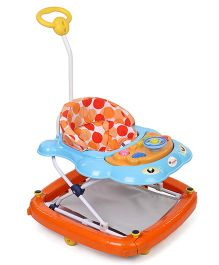Infanto Dolphin 2 In 1 Walker Cum Rocker Big Dots Design - Orange